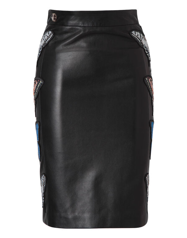 "leather pencil skirt ""stone rose"""