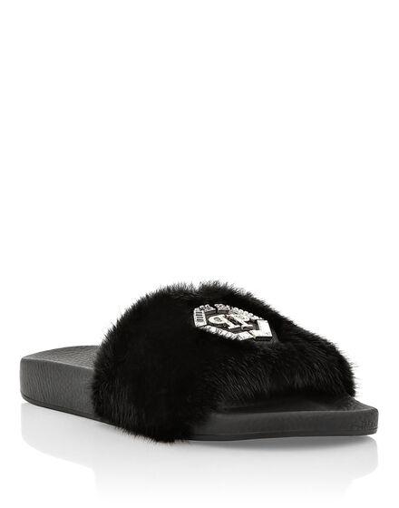 Sandals Flat mink fur insert Luxury