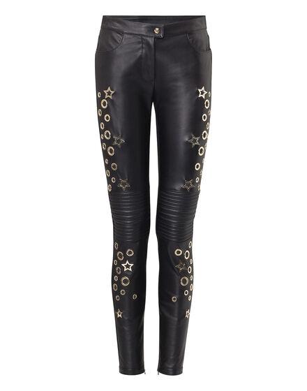 Leather Trousers Long Aquamarine