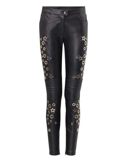 Leather Trousers Long Aquamarine